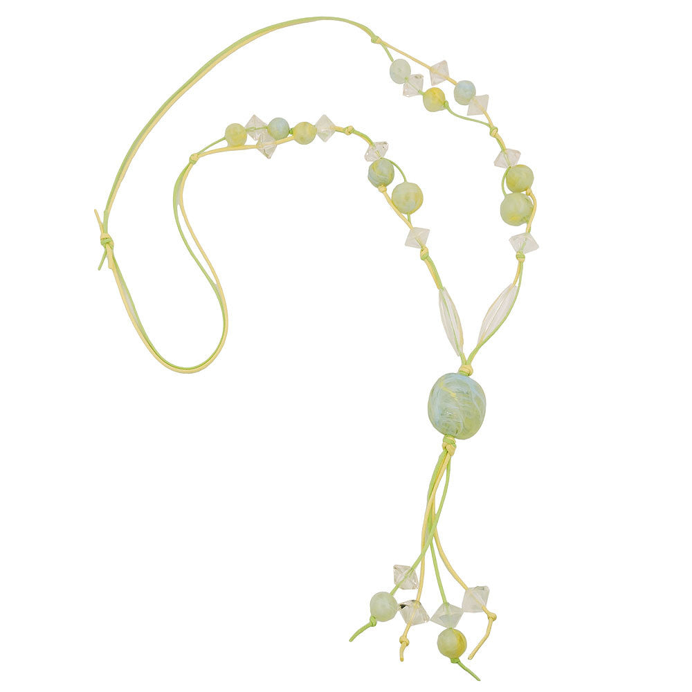 NECKLACE BEADS LIGHT-GREEN YELLOW