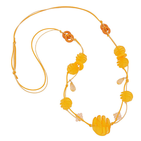 NECKLACE YELLOW SPIRAL BEADS CORD