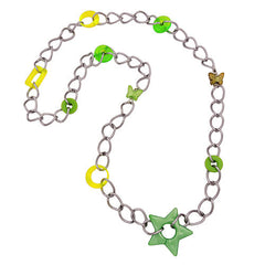 NECKLACE OLIV-MINT-LIME-GREEN BEADS 80CM