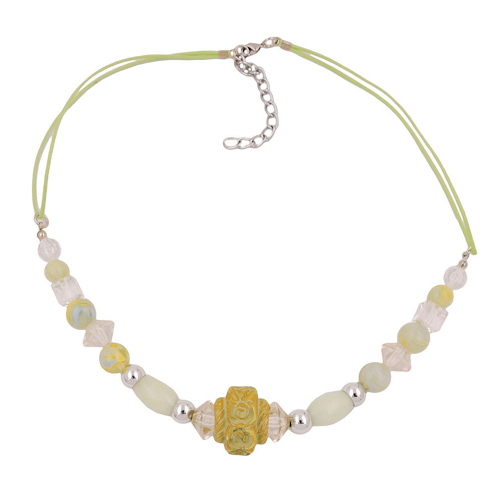 NECKLACE BEADS LIGHT-GREEN-YELLOW