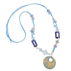 NECKLACE DIFFERENT BEADS TURQUOISE AND LIGHT BLUE 90CM