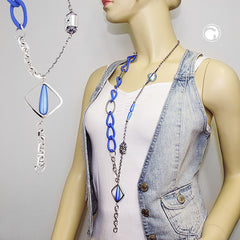 NECKLACE BLUE BEADS CHAIN LINKS 90CM