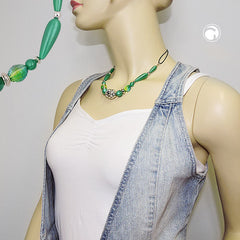 NECKLACE SILKY-GREEN CHROMCOLOUR BEADS 45CM