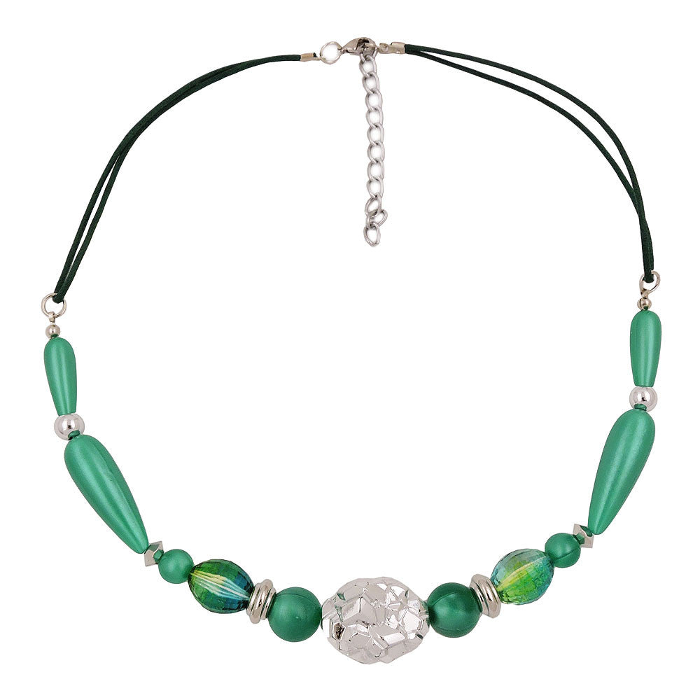 NECKLACE SILKY-GREEN CHROMCOLOUR BEADS
