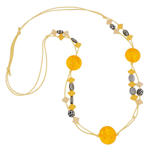 NECKLACE YELLOW BEADS PATTERNED BEADS