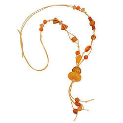 NECKLACE YELLOW-ORANGE BEADS 90CM