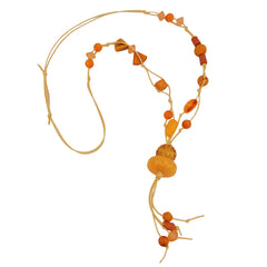 NECKLACE YELLOW-ORANGE BEADS