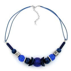 NECKLACE HONEYCOMB BEAD BLUE/ SILVER-COLOURED BEADS 45CM