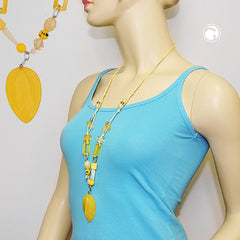 NECKLACE YELLOW BEADS WITH CHAIN LINKS 90CM