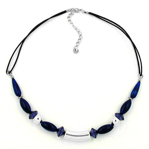 NECKLACE SILVER COLOURED TUBE BEAD BLUE BEADS