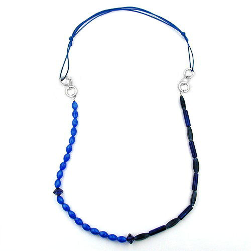 NECKLACE BLUE BEADS DOUBLE CHARACTER CHROME/ SILVER COLOURED RINGS