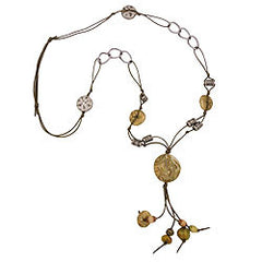 NECKLACE BEADS OLIVE-GREEN 90CM
