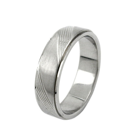 RING DIAGONAL LINE PATTERN STAINLESS STEEL