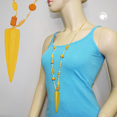 NECKLACE YELLOW BEADS POINTED TRIANGLE 90CM