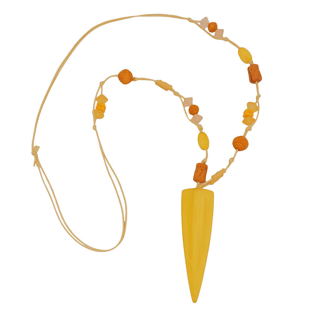 NECKLACE YELLOW BEADS POINTED TRIANGLE