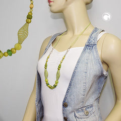 NECKLACE BEADS GREEN-OLIVE 80CM