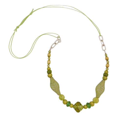 NECKLACE BEADS GREEN-OLIVE