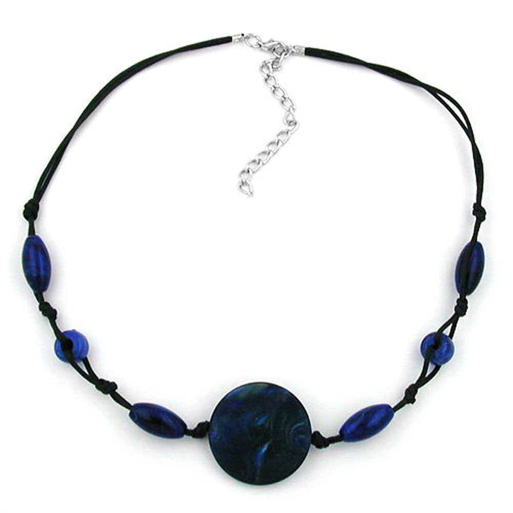 NECKLACE BLUE MARBLED DIFFERENT SHAPED BEADS