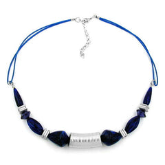 NECKLACE GROOVED TUBE BEAD SILVER COLOURED & BLUE BEADS 45CM