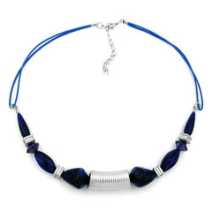 NECKLACE GROOVED TUBE BEAD SILVER COLOURED & BLUE BEADS