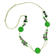NECKLACE GREEN AND ANTIQUE SILVER BEADS 100CM