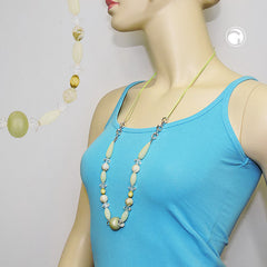 NECKLACE BEADS LIGHT-GREEN-OLIV 80CM