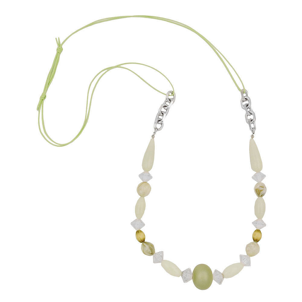 NECKLACE BEADS LIGHT-GREEN-OLIV