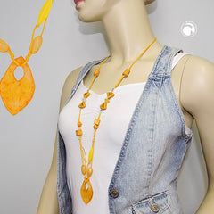 NECKLACE BEADS AND 2-FOLD CORD YELLOW 90CM