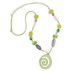NECKLACE GREEN-YELLOW-COLORED BEADS 90CM