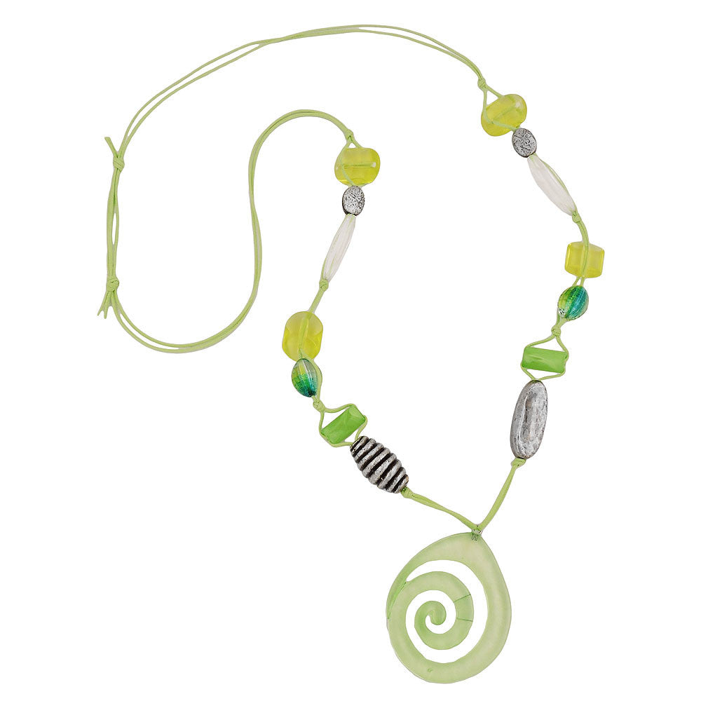 NECKLACE GREEN-YELLOW-COLORED BEADS