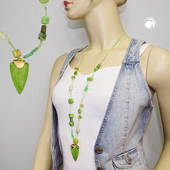 NECKLACE GREEN BEADS 80CM