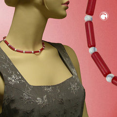 NECKLACE BEADS RED/WHITE SILKY SHIMMERING 42CM