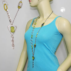 NECKLACE GREEN BEADS CHAIN LINKS 90CM