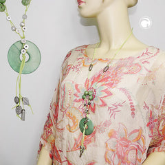 NECKLACE SILK-GREEN ROUND PENDANT 90CM