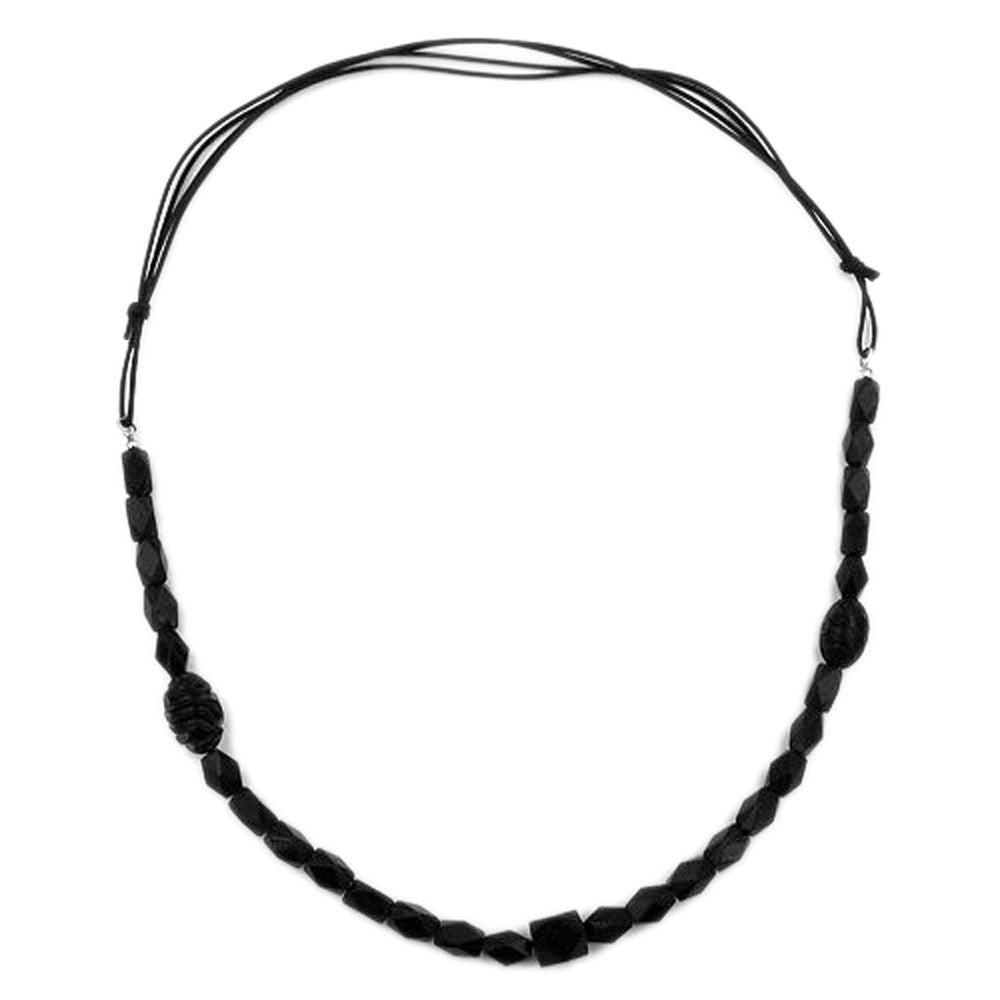 NECKLACE BLACK BEADS OLIVE SHAPE FACETED