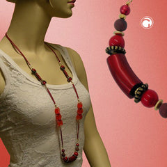 NECKLACE BEADS RED SHINY 100CM
