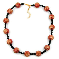 NECKLACE DESIGNER BEADS RED/GOLD-COLOURED BLACK 50CM