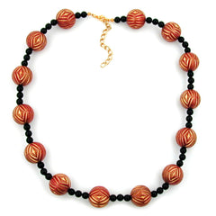 NECKLACE DESIGNER BEADS RED/GOLD-COLOURED BLACK