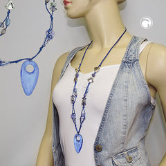 NECKLACE BLUE AND CROME-FINISHED BEADS 90CM
