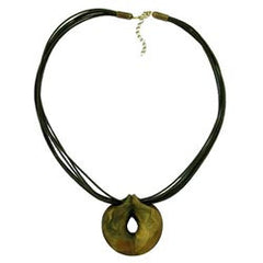 NECKLACE GREEN-OLIVE RING 55CM