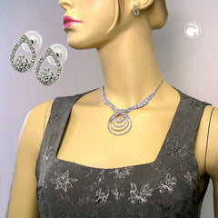 SET NECKLACE AND EARRINGS RHINESTONES 30CM