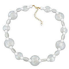 NECKLACE WHITE BEADS PEARL WHITE 45CM