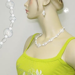 NECKLACE WHITE BEADS PEARL WHITE 50CM