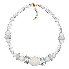 NECKLACE HONEYCOMB BEAD WHITE BEADS WHITE & TRANSPARENT 45CM