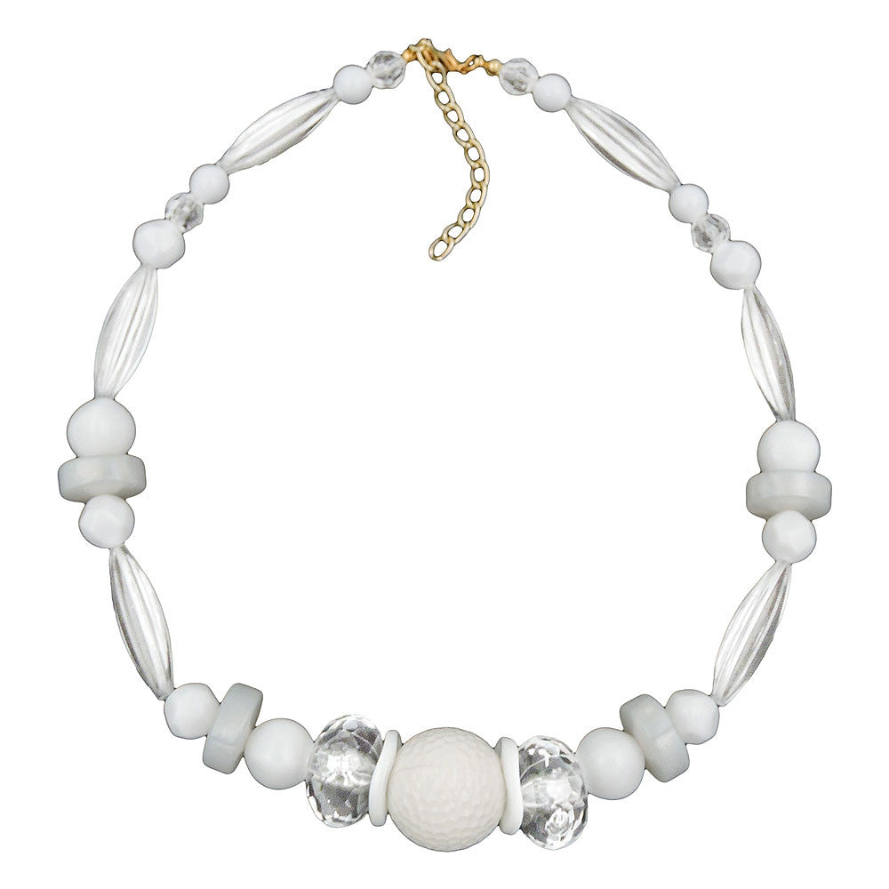NECKLACE HONEYCOMB BEAD WHITE BEADS WHITE & TRANSPARENT