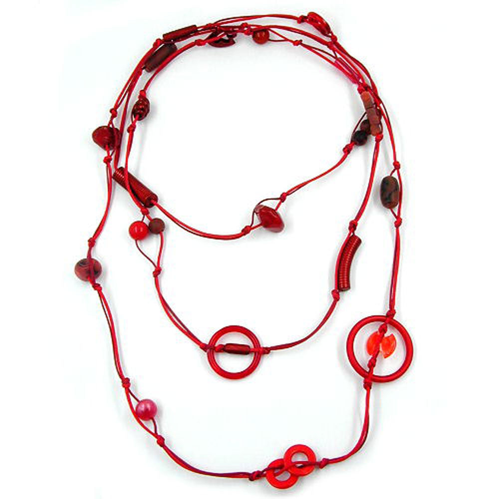 NECKLACE BEADS RED ENDLESS 190CM