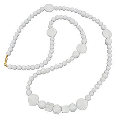 NECKLACE BEADS WHITE GLOSSY PEARL WHITE LEAF 90CM