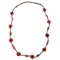 NECKLACE KNOTTED RINGS RED/ BROWN 100CM