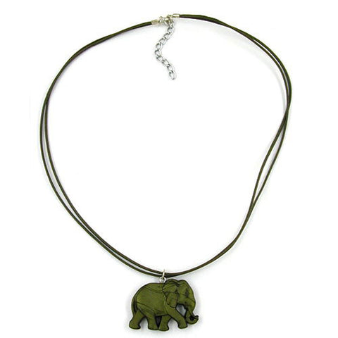NECKLACE ELEPHANT GREEN/ OLIVE COLOURED