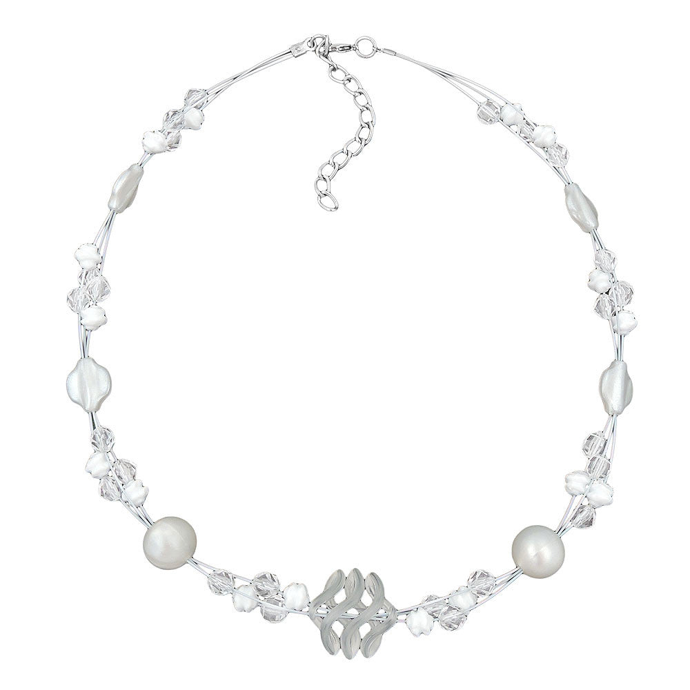 NECKLACEWHITE FROSTED AND PEARLY WHITE BEADS ON COATED FLEXIBLE WIRE